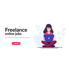 freelance concept web template girl with a laptop vector image