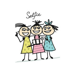 funny girls do photos with mobile smart phone vector image