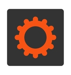 Gear flat orange and gray colors rounded button vector image
