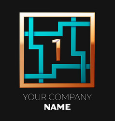 golden number one logo symbol in the square maze vector image