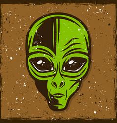 Green alien head colored vector