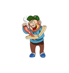 Guy eating pizza vector
