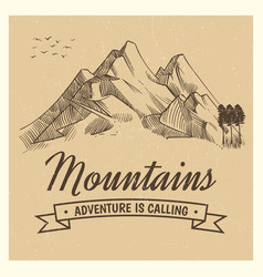 hand drawing high mountain peak vector image