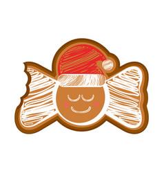 Happy bitten bowtie gingerbread vector