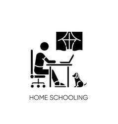 Home schooling black glyph icon vector