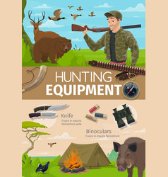 Hunting adventure hunter equipment and animals vector