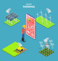isometric flat concept smart farming vector image