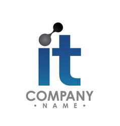 it technology logo icon letter design vector image