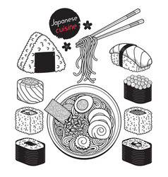 Japan food doodle elements hand drawn style vector