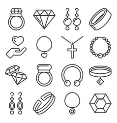 jewelry icons set on white background line style vector image