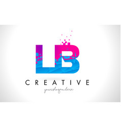 Lb l b letter logo with shattered broken blue vector