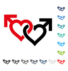 Linked gay hearts icon vector