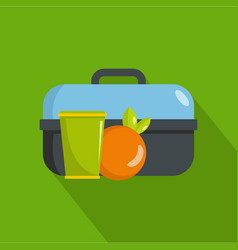 Lunch in box icon flat style vector