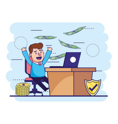 man with laptop in desk and bills with coins vector image