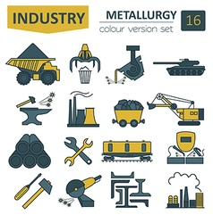 Metallurgy icon set Colour version design vector