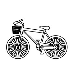 Monochrome silhouette with sport bike with basket vector