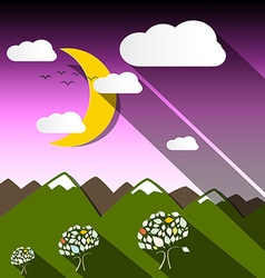 night mountain landscape with moon vector image
