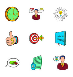 office worker icons set cartoon style vector image