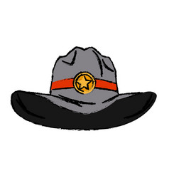 old western sheriff hat with insignia star vector image
