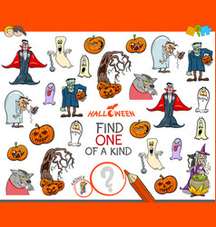 one of a kind activity game with halloween vector image