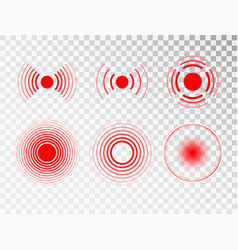Pain red circle or localization mark aching place vector