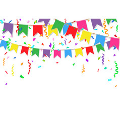 party background with colorful flags and confetti vector image