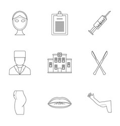 Plastic correction icon set outline style vector