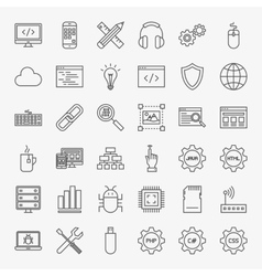 Programming Line Icons Set vector image