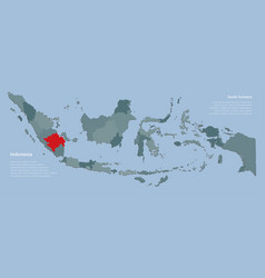 Province south sumatra and country map indonesia vector
