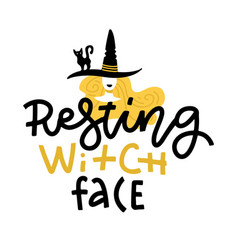 pun halloween with cute doodle witch in hat and vector image