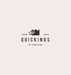 quick king crown fast tech digital logo icon vector image