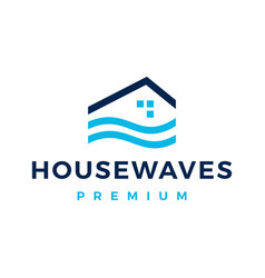 River house home sea water wave mortgage logo icon vector
