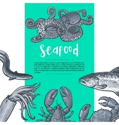 Seafood hand drawn sketch style vintage banner vector image