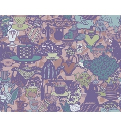 Seamless tablware pattern Hand drawn vector image