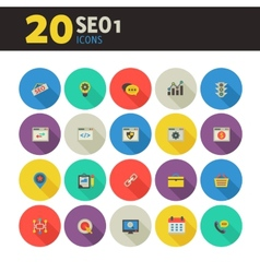 SEO 1 icons on colored round buttons vector
