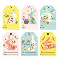 set isolated gift tags with easter bunny vector image