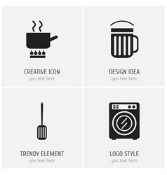 set of 4 editable cook icons includes symbols vector image