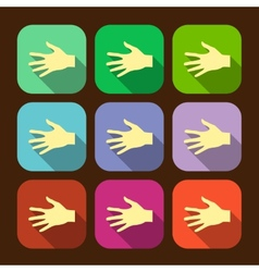 Set of flat icon hands eps vector image