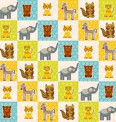 Set of funny animals bear cat raccoon zebra tiger vector image