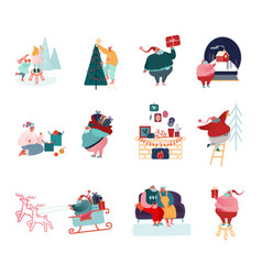 set people characters holiday scenes winter vector image