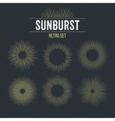 Set retro sun burst shapes vector