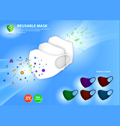 Set three layer antivirus mask or n95 or kn95 vector