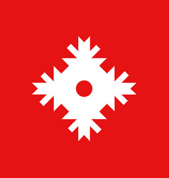 snowflake icon white color on red background vector image