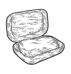 Soap dish with soap sketch scratch board vector
