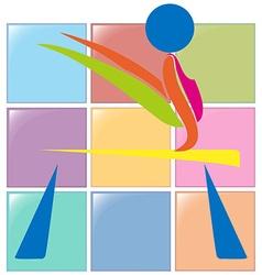Sport icon design for gymnastics on beam vector