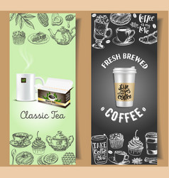 Takeaway coffee and tea flyer template set vector