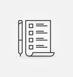 to do list with pen minimal icon in thin vector image