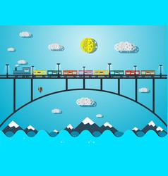 train on bridge over sea or river vector image