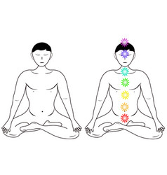 Two cartoons of the meditation of men vector