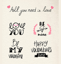 valentines day hand drawn love quote set vector image